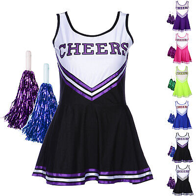 Kostüm Cheerleading Cheer Leader Rock 6 Farbe GOGO Girl DE (Cheer Kostüm)