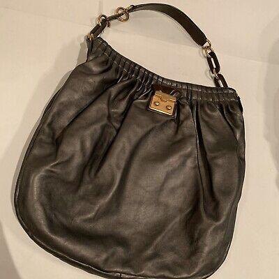 MARC BY MARC JACOBS Metallic Grey Soft Lamb Leather Shoulder Handbag Hobo Medium