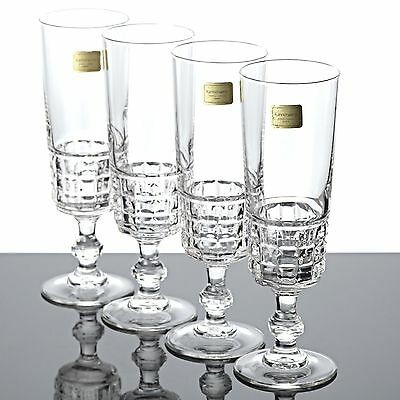 4 luminarc cristal d 39 arques sektgl ser gl ser france quadrille vintage ebay. Black Bedroom Furniture Sets. Home Design Ideas