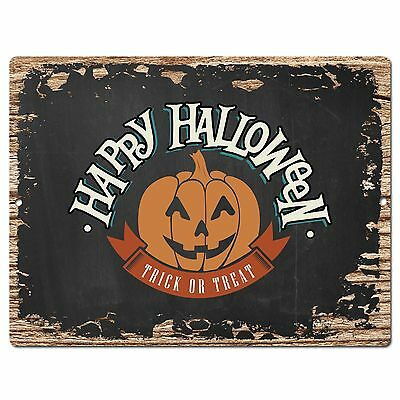 PP1888  HAPPY HALLOWEEN Plate Rustic Chic Sign Home Store Halloween Decor Gift