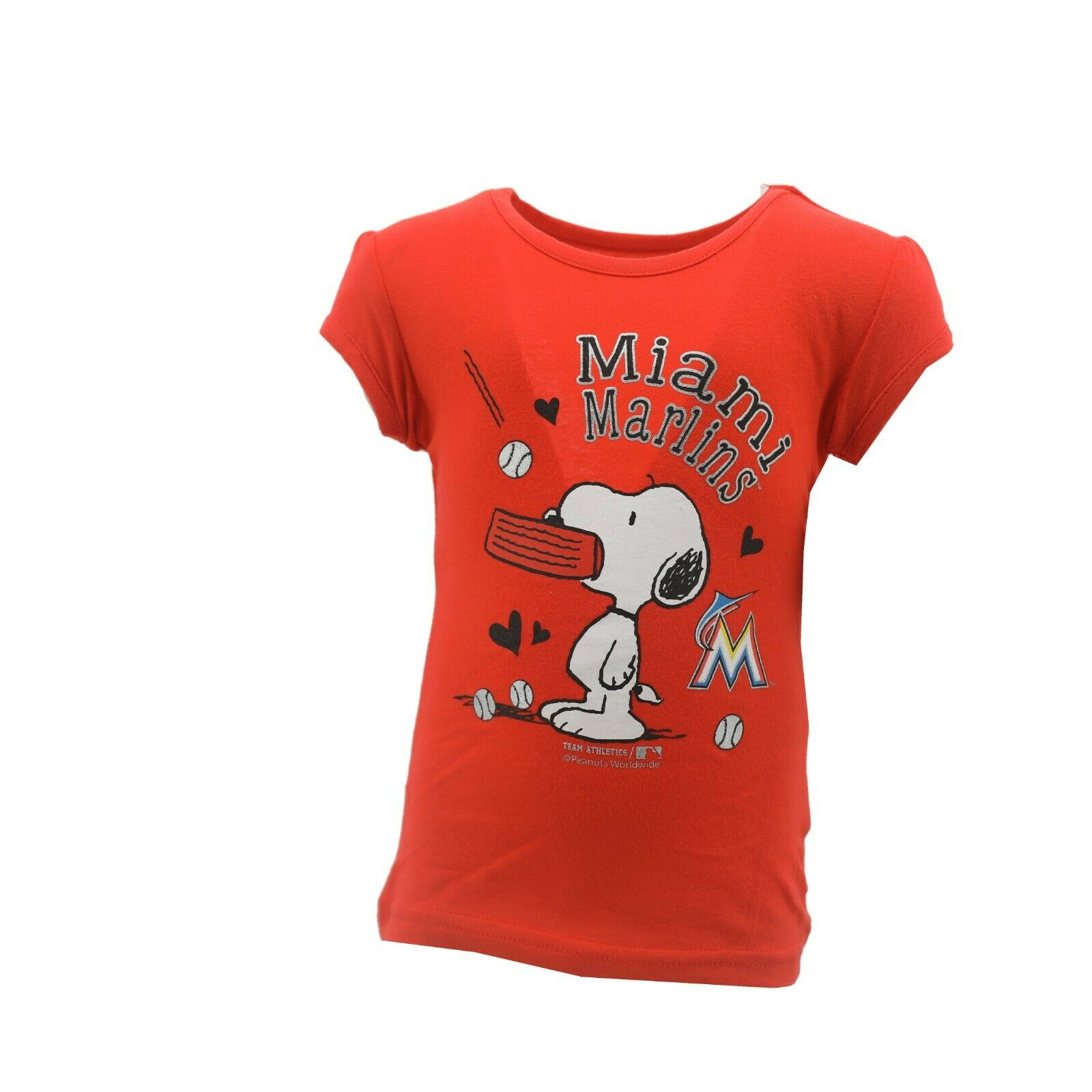 11485d68dbcad4 Miami Marlins Official MLB Genuine Infant Toddler Girls Size Snoopy T-Shirt  New
