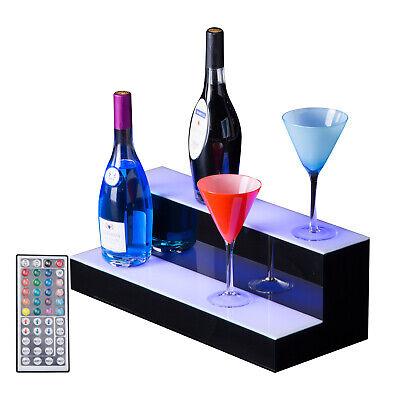 20 2 Step Tier Led Lighted Back Bar Glowing Liquor Bottle Display Shelf Glowing
