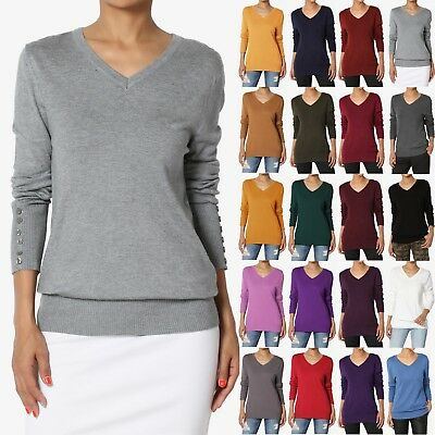TheMogan Button Long Sleeve V-Neck Loose Fit Knit Pullover Sweater -