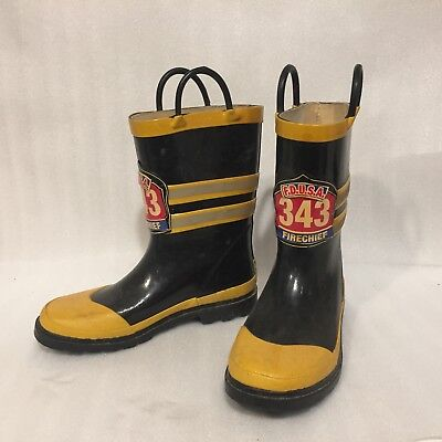 Western Chief KIDS FIRE CHIEF FDUSA 343 Rubber Rain Boots Pull On Handles Sz 3  - Kids Fire Chief Rain Boot