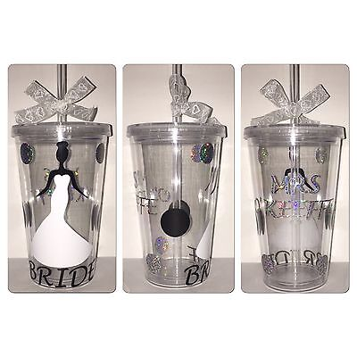 Bride Personalised Tumbler Wedding Cup With Lid And Straw