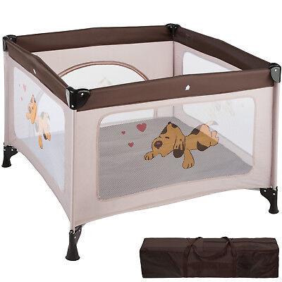 Parque para bebé cuna infantil de viaje portátil altura ajustable marrón