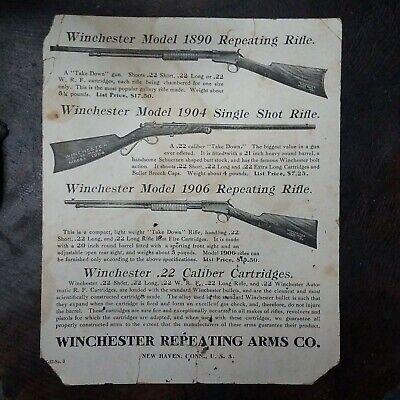 Original Early old Winchester 1890 1904 1906 22 rifle gun target & advertisement