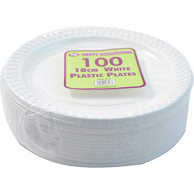 """100 x WHITE PLASTIC PLATES ROUND 18cm 7"""" TABLEWARE PARTY BIRTHDAY DISPOSABLE NEW"""