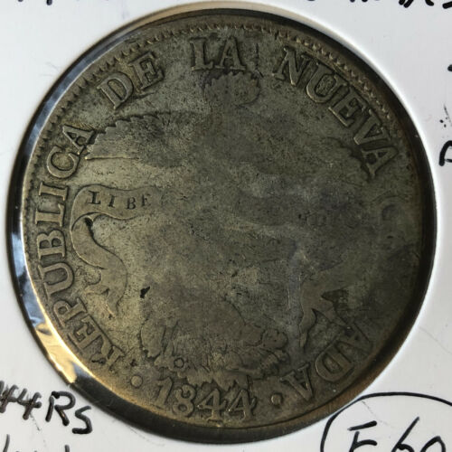 1844-RS Colombia 8 Reales Bogota Silver Coin F Condition