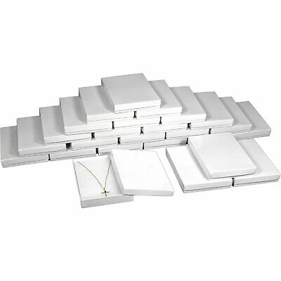 25 Cotton Necklace Pendant Gift Boxes Jewelry White