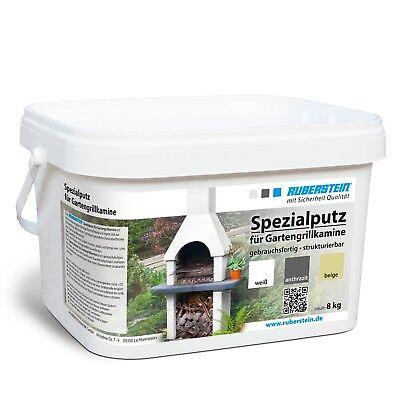Ruberstein® Spezialputz, Putz für Grillkamin, Kamin neu putzen, 8kg, anthrazit