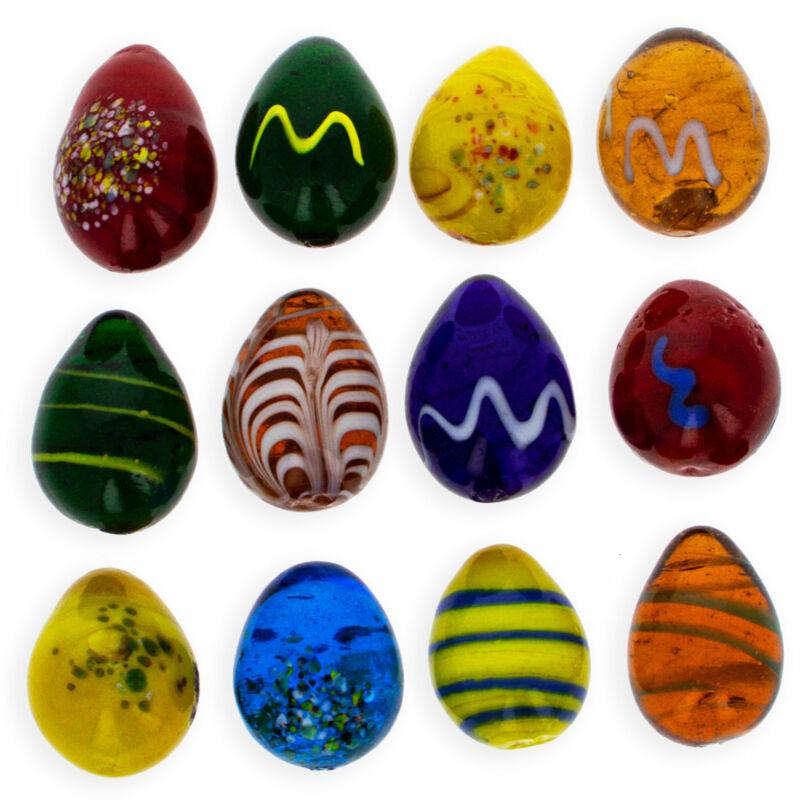 Set of 12 Mini Solid Glass Eggs
