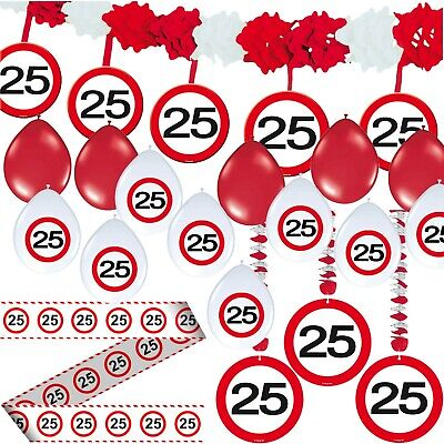 25. GEBURTSTAG DEKO SET - 24 TEILE - Verkehrsschild Party Set Dekoration Ballons