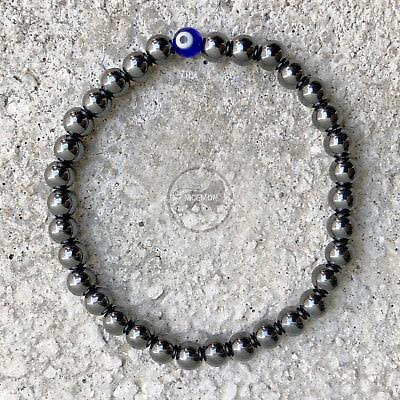 Hematite Stretch Ball Bracelet Evil Eye Protection Hippie Hobo 4mm / 5mm 1SZ