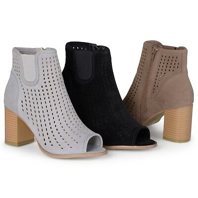 Chunky Collection - Journee Collection Womens Faux Suede Chunky Heel Open Toe Booties New