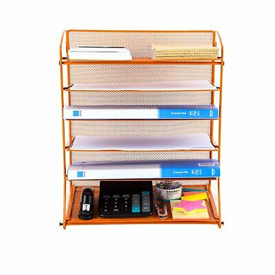 Pro Space Wall Mount Mesh Papers Letters File Organizer-6 Tier Trayorange