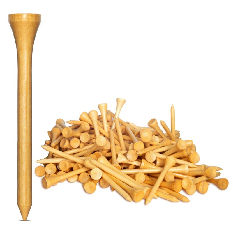 """New 1,000 Bamboo Golf Tees 7x Stronger than Wood 2-3/4"""" Height - PGA Approved"""