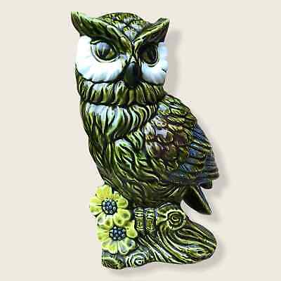 Vintage Owl Planter Rubens Originals Japan Green 7 in 5136 Ceramic Pottery Vase