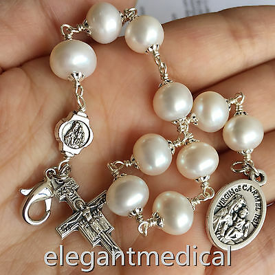 (Silver Wire Wrap UNDOUBTED Freshwater Pearls BEAD ROSARY BRACELET CROSS CATHOLIC)