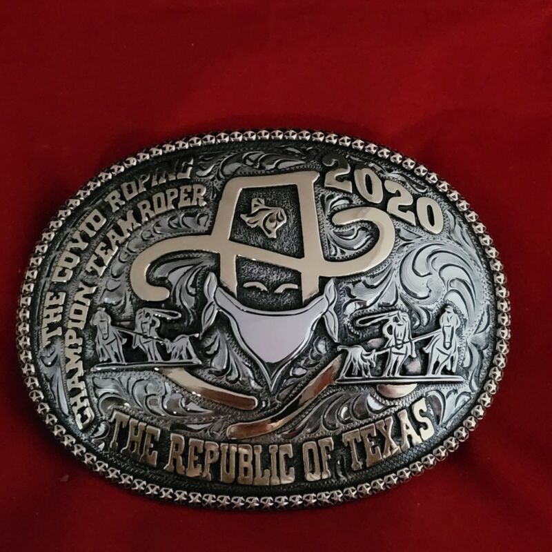 2020 RODEO TROPHY BELT BUCKLE~TEAM ROPING ☆THE REPUBLIC OF TEXAS #132