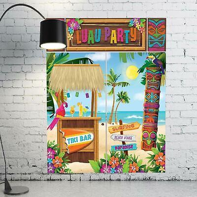 6ft Hawaiian Luau Beach Party Tiki Selfie Scene Setter Wall Palm Tree Decoration
