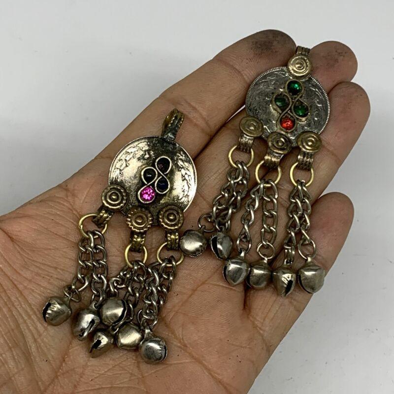 "30.7g, 2.9""x1"", 1 Pair, Kuchi Pendant Coin Ethnic Tribal Gypsy, ATS, @Afghanista"