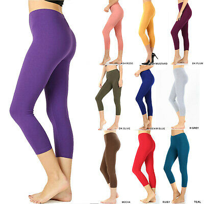 Womens Capri Leggings Soft Stretch Cotton Fitness Cropped 3/4 Workout Yoga Pant ()