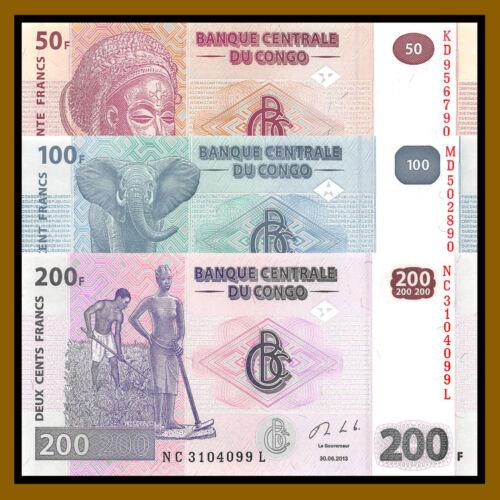 Congo Democratic Republic 50 100 200 Francs (3 Pcs Set), 2013 P.97/98/99 Unc