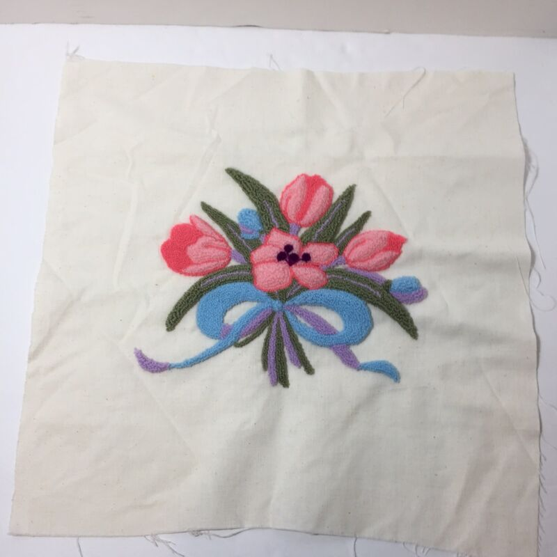 """Floral Bouquet Tulips Finished Needle Punch Embroidery Pretty 16"""" Square"""