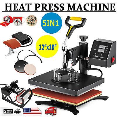 5 In 1 Heat Press Machine Swing Away Digital Sublimation T-shirt Mugplate Hat