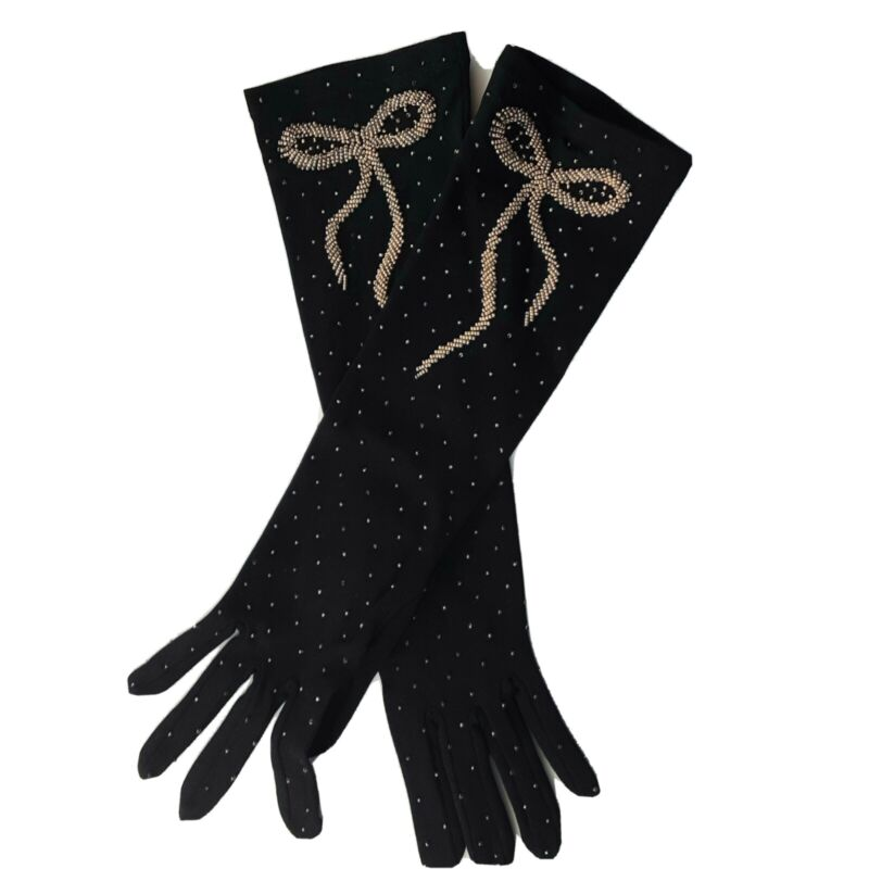 Long Vintage Beaded bow Gloves