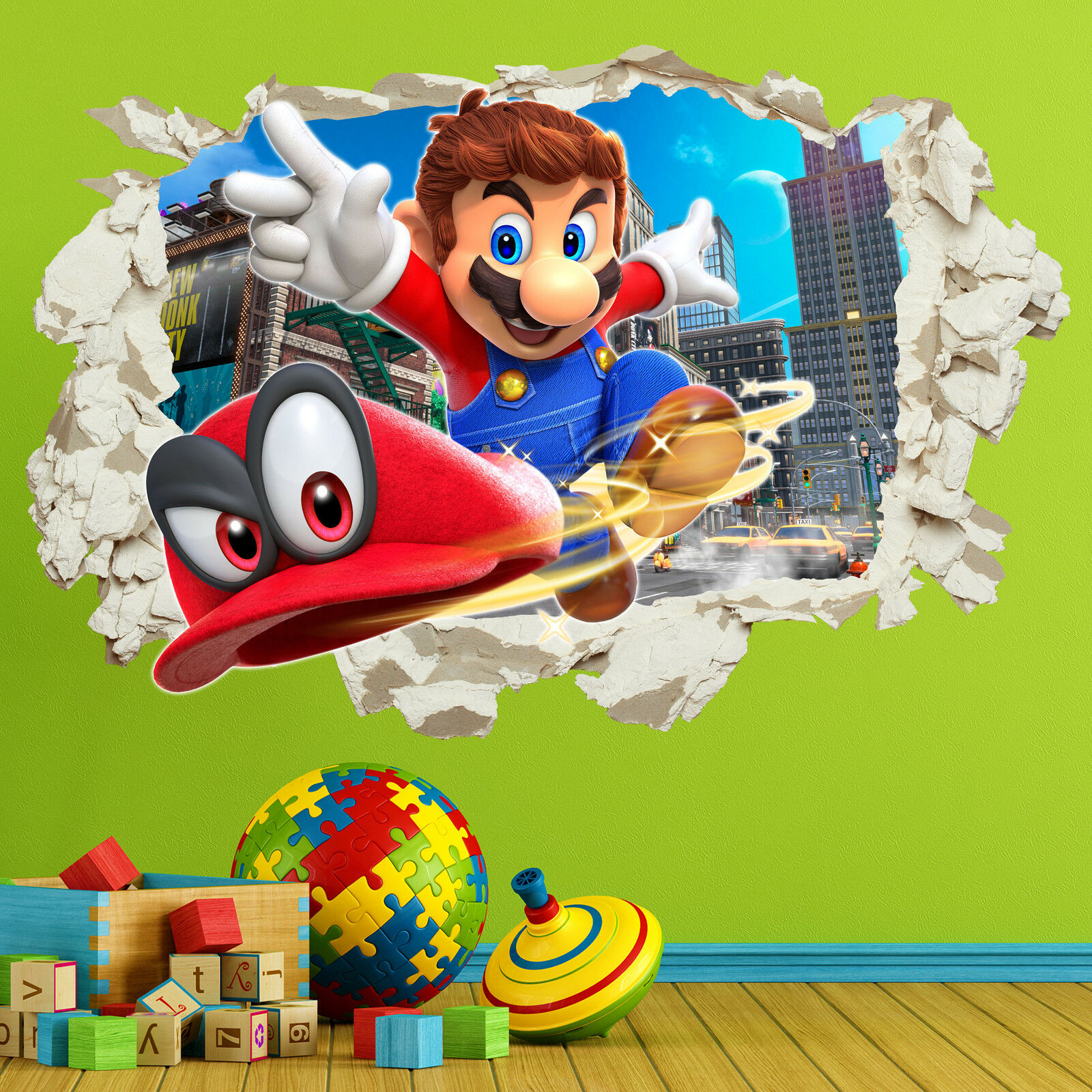 Home Decoration - Super Mario Odyssey Wall Stickers Decals in Crack Bedroom Kids Gift Home Decor