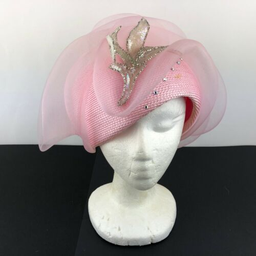Bellini Vintage Cloche Cocktail Church Statement Hat Pink with Tulle Womens