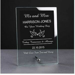 Personalised Engraved Glass Plaque Bride and Groom Mr and Mrs wedding day gift