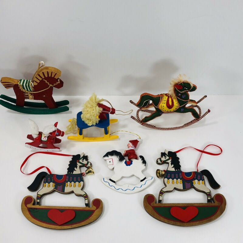 Rocking Horse Christmas Ornaments Handcrafted Wood Fabric Decorations Lot of 7