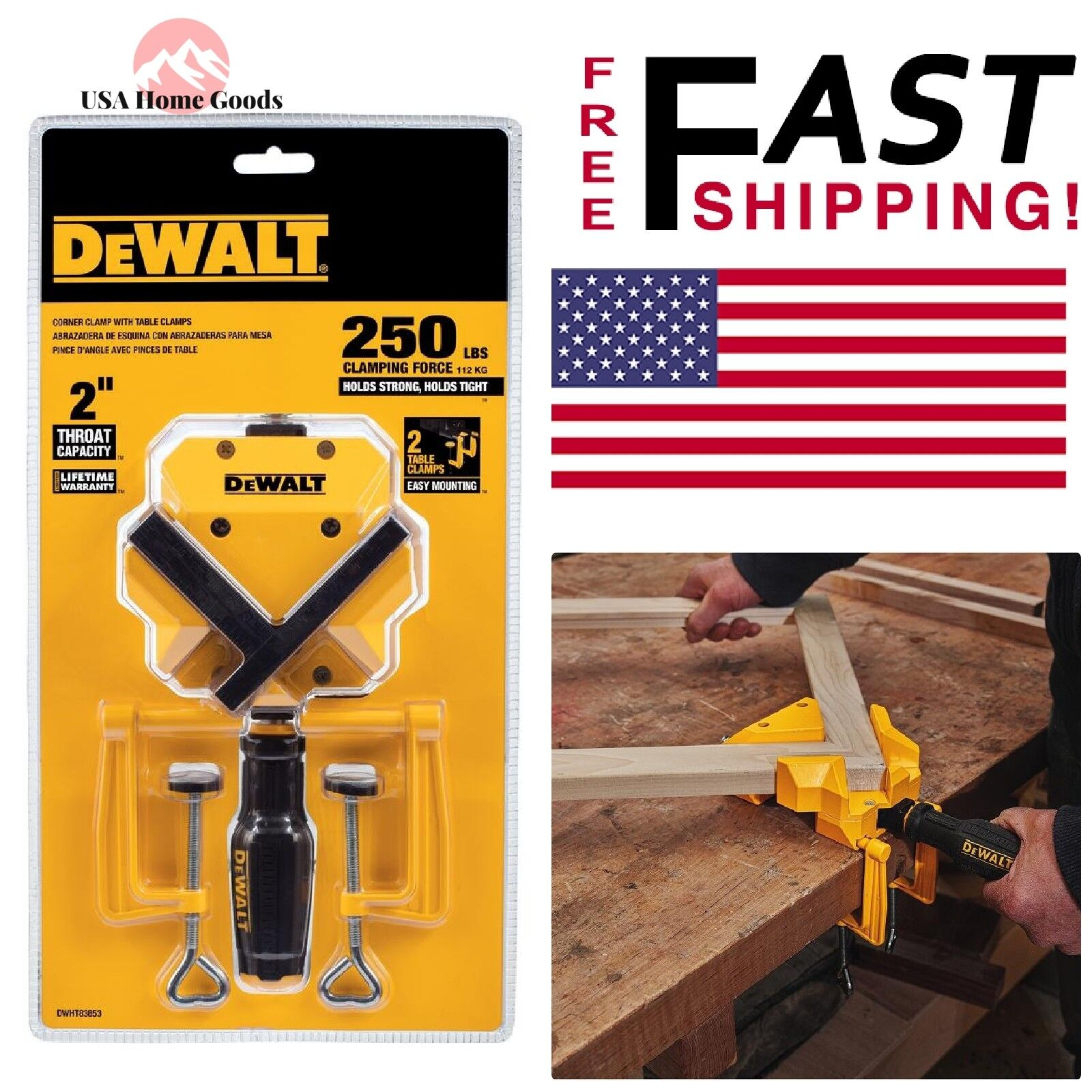 DEWALT 90-Degree Angle Clamp 2 in. Jaw Opening 250 lbs. Clam