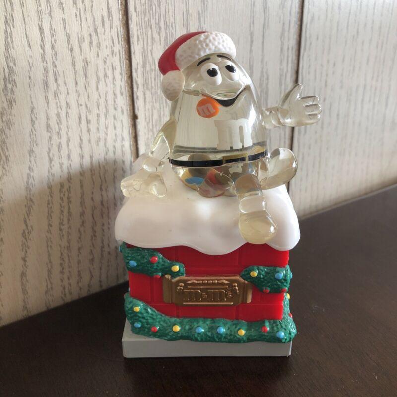 Used Mars M&Ms Christmas Santa Chimney Snow Globe Style Candy Dish Decoration!!!