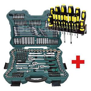 Werkzeugkoffer Steckschlüsselsatz 215 tlg + Schraubendrehersatz 18tlg Mannesmann