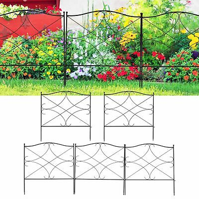5 Panels Steel Decorative Garden Fence Lawn Border Edge Landscaping Interlocking