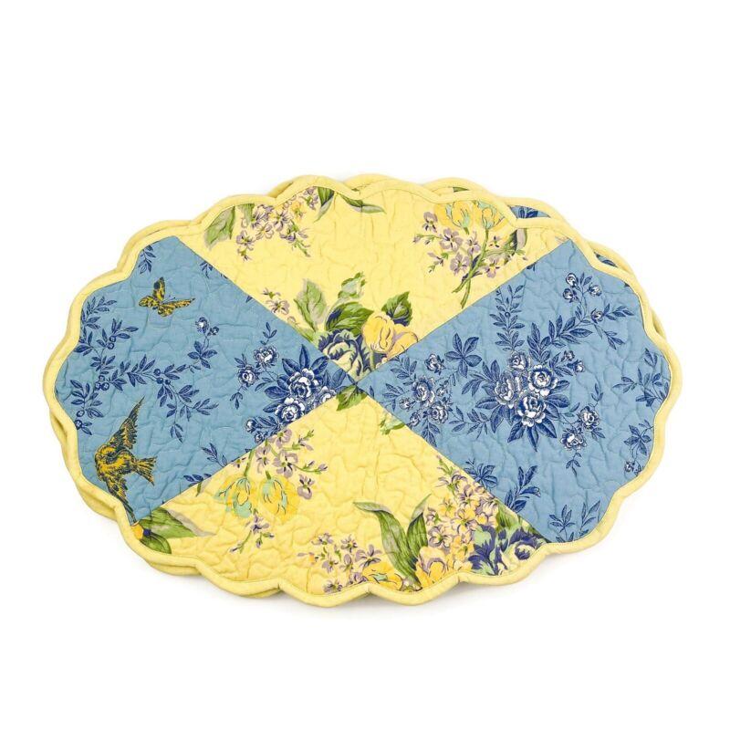 APRIL CORNELL Set of 4 Cotton Yellow Blue Floral Bird Scallop Edge Placemats