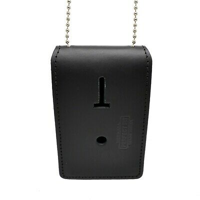 Universal Leather Badge Id Holder Neck Chain Police Bail Agent Cwp Security
