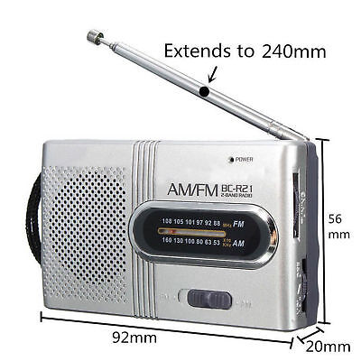 New Mini Portable Pocket AM/FM Telescopic Antenna Battery Powered Receiver Radio
