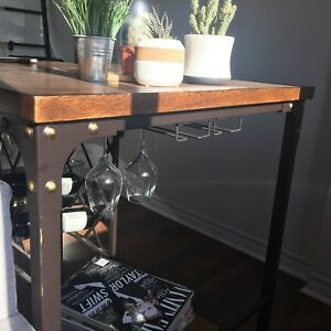 Vintage-Look Table with wine rack and wine glass storage