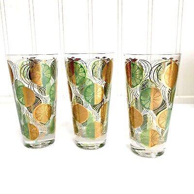 Vintage-New 8 Ceraglass Highball Cera Glass 1970s Lemon Lime Glasses 5 5/8