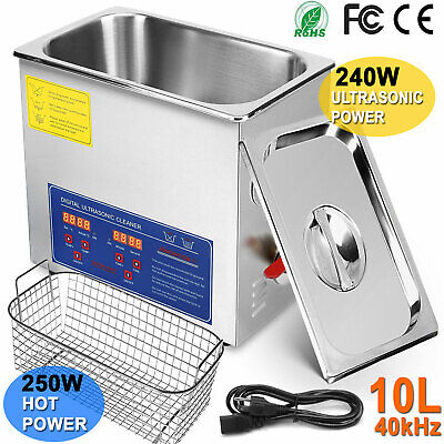 10l Liter Ultrasonic Cleaner Stainless Steel Industry Heated Heater With Timer