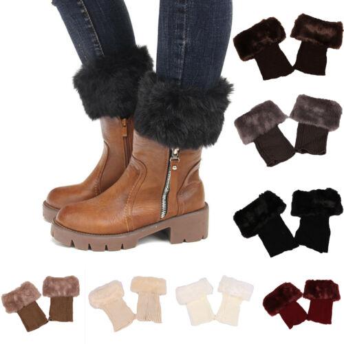 Women Winter Crochet Knit Boot Socks Faux Fur Cuff Toppers T