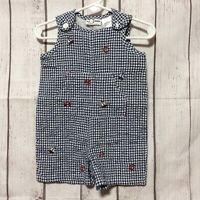 b.t. Kids Romper Boys 6-9 Mo Shortall Blue Gingham Embroidered Nautical Pockets Embroidered Pocket Shortall