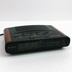 Sony Dream Machine ICF-C430 Dual Alarm Clock AM/FM Radio (Black/Wood Grain)