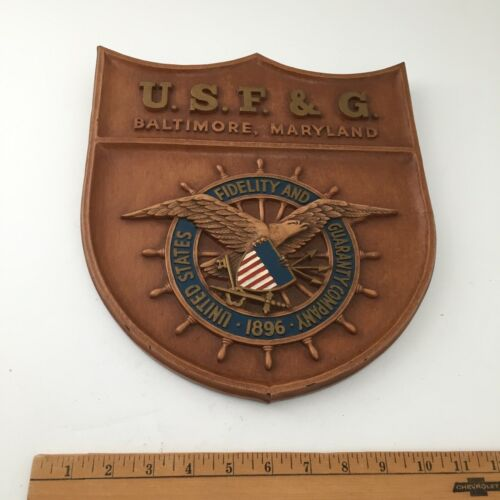 Vintage United States Fidelity and Guaranty Company  Plaque / Sign - Eagle Ship