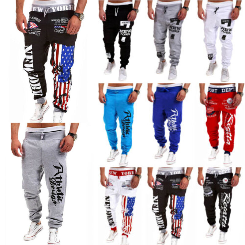 Men Letter Printed Baggy Sweats Pants Casual Sport Jogger Jo